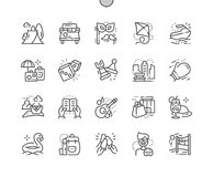 Den fritid Brunn-tillverkade perfekta vektorn för PIXELet fodrar thin rastret 2x för symboler 30 för rengöringsdukdiagram och App stock illustrationer