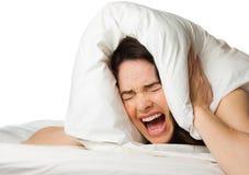Den frustrerade kvinnan kan inte sova Royaltyfria Foton