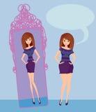 Den fulla damen tycker om hennes slanka reflexion Royaltyfri Foto