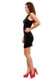 Den fulla längden sköt av sexig kvinna i aftonklänning, isolerat på whi royaltyfri fotografi