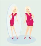 Den fulla ladyen tycker om henne den slanka reflexionen Arkivfoto