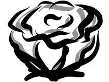 Den fulla stora Rose Flower Blooming & blomstrakonturn förenklade stock illustrationer