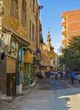 Den fullsatta gamla gatan Fotografering för Bildbyråer
