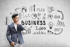 Den fundersamma asiatiska affärsmannen står nära en betongvägg med svart affärsidé skissar royaltyfria foton