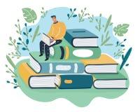 Den fundersamma unga mannen sitter på bunt av böcker vektor illustrationer