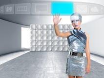 Den Futuristic ungeflickan försilvrar röra fingrar symboler arkivbild