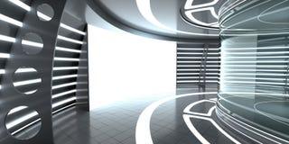 Den futuristiska inre med exponeringsglas ställer ut och panel Arkivfoton