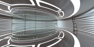 Den futuristiska inre med tomt exponeringsglas ställer ut Arkivfoto