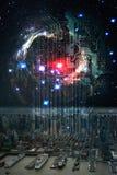 Den futuristiska internet av saker IoT anknyter de fysiska och digitala världarna stock illustrationer