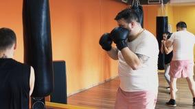 Den fylliga grabben i handskar slår den stansa påsen i idrottshall Förlust för individuell vikt borrar för fet man Den boxas utbi stock video