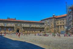 Den fyrkantiga Obradoiroen, Santiago de Compostela Royaltyfria Bilder