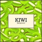 Den fyrkantiga ramen på mogen kiwibakgrund Vektorkortillustration Skalad läcker ny och saftig kiwifruit Arkivbilder