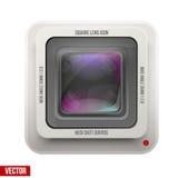 Den fyrkantiga symbolsfotografi- eller videolinsen Arkivfoton