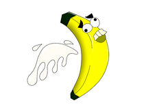 Den galna bananen med mjölkar färgstänk Arkivbilder