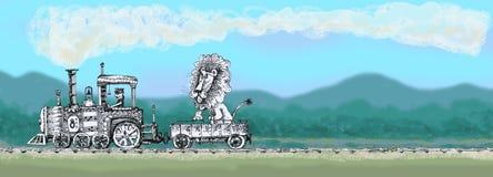Den gamla ångalokomotivet bär ett lejon Arkivbild