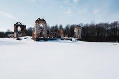 Den gamla övergav mangårdsbyggnaden fördärvar i Litauen Paulava republikPavlov republik royaltyfri fotografi