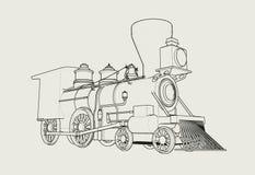 Den gamla amerikanska översikten för ångalokomotivet skissar illustrationen 3D vektor illustrationer