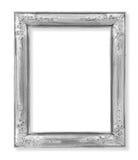 Den gamla antika silverramen på viten Royaltyfri Fotografi