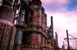 Den gamla Bethlehem Steel fabriken, som stängde sig, sedan 1998 är ett stycke av industriell historia arkivfoto