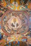 Den gamla bilden av frescoesna av den Rila kloster Royaltyfri Bild