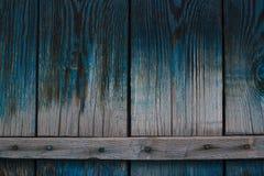 Den gamla blåa wood texturen arkivfoton