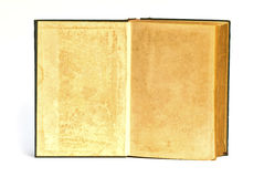 Den gamla boken öppnar framsida två Arkivfoton