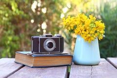 den gamla boken, tappningfotokamera bredvid fält blommar Royaltyfri Bild