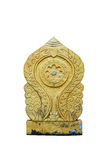 Den gamla buddismsymbolskulpturen på vit Royaltyfri Fotografi