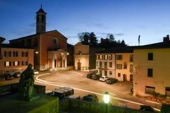 Den gamla centrala fyrkanten av Stabio på Schweiz Arkivbilder