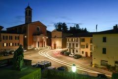 Den gamla centrala fyrkanten av Stabio på Schweiz Arkivbild