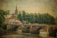 Den gamla Dee Bridge chester england Arkivfoton