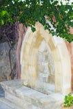 Den gamla dricka springbrunnen virvlade den mjuka fokusen för buskebougainvillean royaltyfri foto