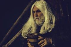 Den gamla druiden med tr? r?nar royaltyfri foto