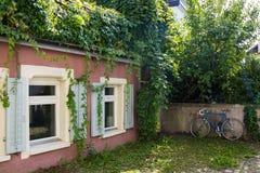 Den gamla ensamma cykeln står i gården nära en tegelstenvägg Royaltyfri Fotografi