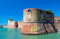 Den gamla fästningen Fortezza Nuova i Livorno, Tuscany, Italien, surr Royaltyfri Foto