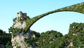 Den gamla fantsay slotten på en hög klippa, vaggar flyg- sikt sagolik liggande arkivbild