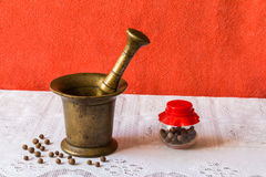 Den gamla farmoderns mortel för malande peppar Royaltyfria Bilder