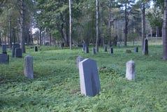 Den gamla finlandssvenska kyrkogården bland träden arkivfoto