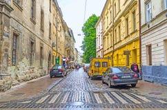 Den gamla gatan av Lvov Fotografering för Bildbyråer