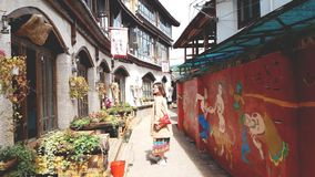 Den gamla gatan i Lijiang av Kina arkivfoto