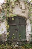 Den gamla gröna dörren i hösten parkerar, den Konig slotten, Ukraina Arkivfoton