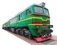 Den gamla gröna lokomotivet Royaltyfri Bild
