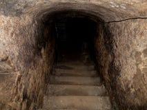 Den gamla grova trappan för tegelstenkällareingång skuggar va royaltyfri fotografi