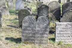 Den gamla judiska kyrkogården i den Horice staden är mycket stor och väl bevarad Royaltyfri Fotografi