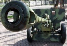 Den gamla kanonen i staden parkerar, segerdagen royaltyfri fotografi