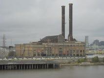 Den gamla kastade växten på flodbanken royaltyfria foton