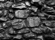 Den gamla klosterväggen som göras av stort, vaggar textur för b&w 3d, bakgrund Royaltyfri Foto