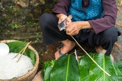 Den gamla kvinnan räcker att förbereda sig att göra Chung Cake, den vietnamesiska mån- Tet för det nya året maten Fotografering för Bildbyråer