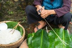 Den gamla kvinnan räcker att förbereda sig att göra Chung Cake, den vietnamesiska mån- Tet för det nya året maten Arkivbild