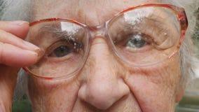 Den gamla kvinnan sätter på exponeringsglas och att se kameran Bärande glasögon för farmor utanför Utomhus- stående av den ledsna lager videofilmer